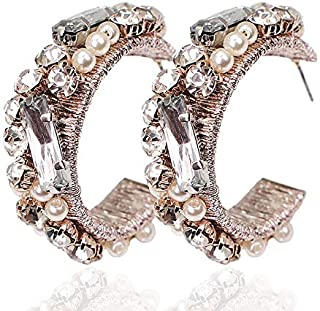 POOIEC Stud Earrings Women Handmade Statement Earrings Rhinestones Imitation Pearl Earring Wedding Jewelry