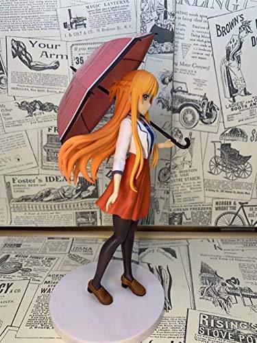 2021 Sword Art Online / Sao: Yuuki Asuna 20CM Figura de PVC Estatua de Anime de seda negra Pretty Girl con vestido rojo ropa casual equipada con una sombrilla Otaku y fanáticos de anime favoritos SJE8
