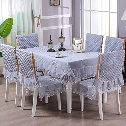 Rectangle/Oblong Dining Tablecloths Handmade Lace Luxury Tablecloth Damask Design Oblong/Rectangle Tablecloth Chair Back Cover And Chair Cushion Cover,3 Colors Christmas And New Year Decoration