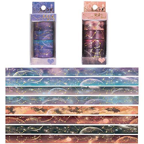 Set de Cinta Washi,8 Rollos Cinta Decorativa Cielo Estrellado,Cintas Washi Decorativas,Cinta de...