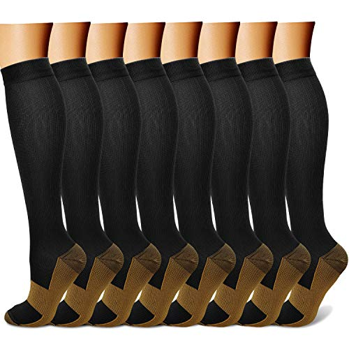 Copper Compression Socks (8 Pairs) 15-20 mmHg is BEST Graduated Athletic & Medical for Men & Women Running Travel Nurses Pregnant - Boost Performance, Blood Circulation & Recovery(L/XL,Multicolour 01)
