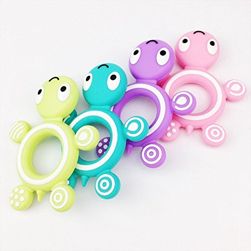 Mamimami Home 5pc Silikone Schildkröte Ring Baby Zahnen Spielzeug Schön DIY Zahnen Halskette Zubehör Essen Teether Armband Chew Anhänger