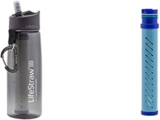 LifeStraw Go Water Bottle 2-Stage with Integrated 1 000 Liter LifeStraw Filter and Activated Carbon Grey w/ LifeStraw Go W...