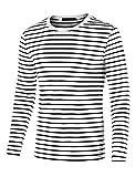 sourcing map Camiseta para Hombres Cuello Redondo Mangas Largas Estampado de Rayas Negro Y Blanco 44
