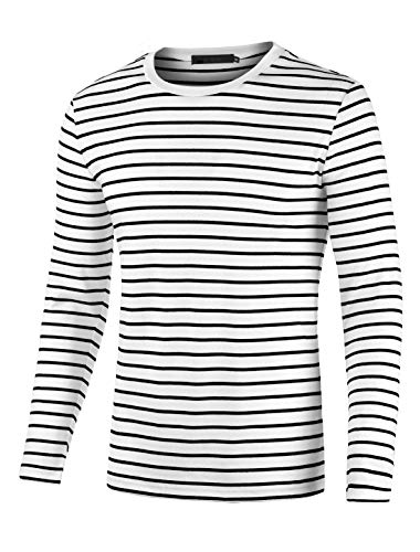 uxcell Men's Striped T Shirt Crew Neck Long Sleeve Casual Cotton Pullover Tee Top Black and White 46