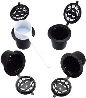 YHONG-CoffeeFilter Filtros Cápsulas de Café Puede Rellenar reutilizar para Cafetera Fuerte 4X cápsulas Reutilizables Recargables de café en cápsulas para Las máquinas Nespresso Cuchara