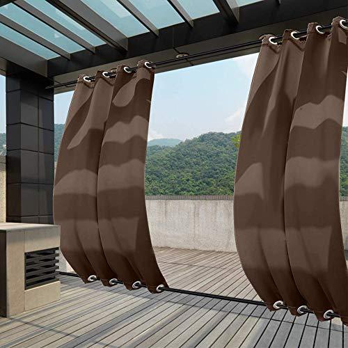 Clothink Outdoor Vorhänge 132x305cm(BxH) mit Ösen Oben(ID:4cm)+Unten(ID:4cm) Braun Aussenvorhang Seitenmarkise Balkonsichtschutz Blickdicht Winddicht Wasserabweisend Sonnenschutz UVschutz