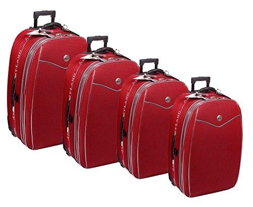 Reisekoffer, Koffer, Kofferset, Trolley, mit Dehnfalte, 4 TLG, rot