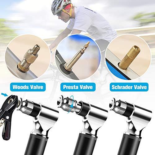 Tomight Mini Fahrradpumpe, Mini Luftpumpe Fahrrad für Presta Und Schrader Ventile, 300 PSI Hoher Druck Handpumpe und leichte Regal für Rennrad/Mountainbike Fahrrad - 4