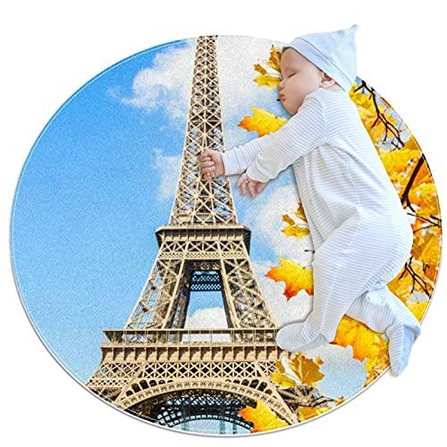 Alfombra de Juego para bebé, Alfombra Redonda para Gatear Alfombra para Ejercicios de Yoga Alfombra de meditación Torre Eiffel Otoño Paris Francia