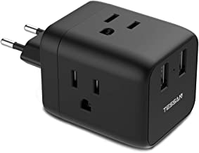 European Travel Plug Adapter, TESSAN Europe Power Adaptor Multi Outlet Extender with 2 USB Phone Wall Charger for USA to Euro EU Italy Spain Greece France Germany (Type C)