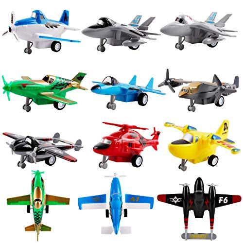 deAO Conjunto Aéreo de Juguete a Fricción 12 Figuras Coleccionables a Pequeña Escala Surtido de Aviones y Helicópteros Incluidos