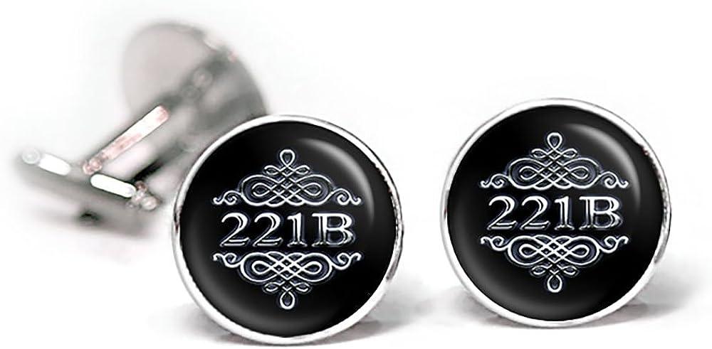 SharedImagination Sherlock Cufflinks, Sherlock Holmes Tie Clip, 221b Baker St Street, Sherlocked Jewelry, Superwholock Super Wholock