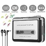 Lychee Portatile registratore a Cassetta/Audio Cassetta Nastro,Cassette Tape to MP3 CD Convertitore PC via USB,Retro Walkman Auto Lettore Audio Tape con Auricolari (Bianco)