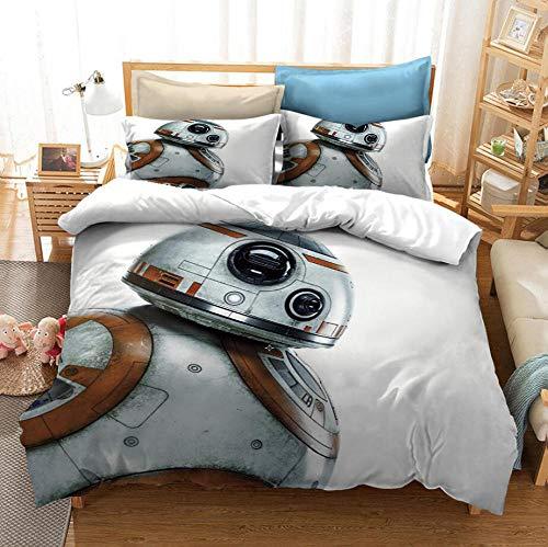 Returned home Piumino Star Wars Disney, Copripiumino e Federa per Camera da Letto per Adulti con Stampa 3D, Tessuto per la casa a grandezza Naturale-3_210 * 210 cm (3 Pezzi)