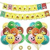 SZWL Anniversaire Décorations Ballons, Bannière Joyeux Anniversaire Fête d'anniversaire Fournitures pour Bébé Fille Garçon Lady Birthday Party - 27PCS