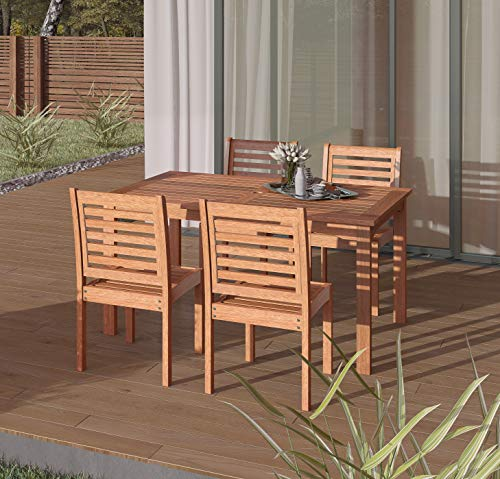 Amazonia Derby 5-Piece Patio Armless Rectangular Dining Set | Eucalyptus Wood | Ideal for Outdoors and Indoors