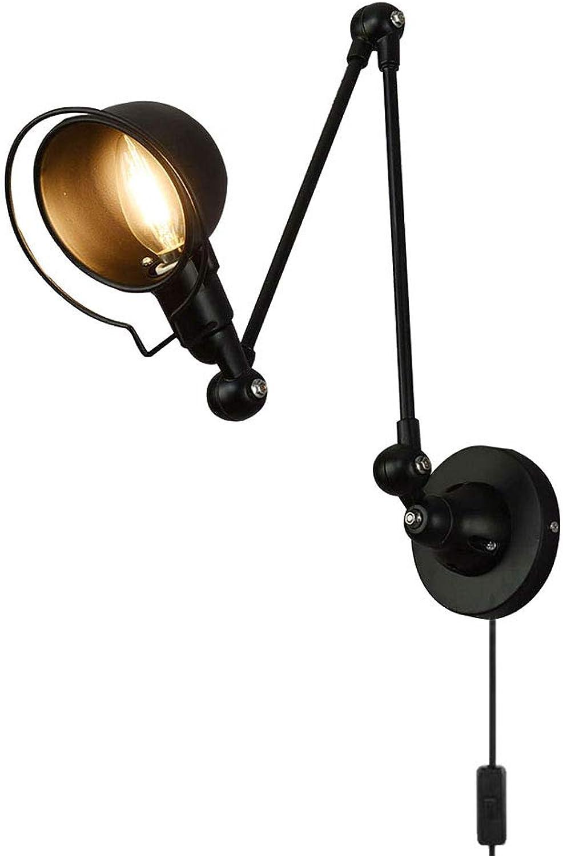 VinDeng Vintage Rocker wandleuchte Wandlicht Innen, E14 Verstellbar Wandleuchte Metal Eisen Wandlampe Schlafzimmer Lampen-schwarz In-Line-Schalter