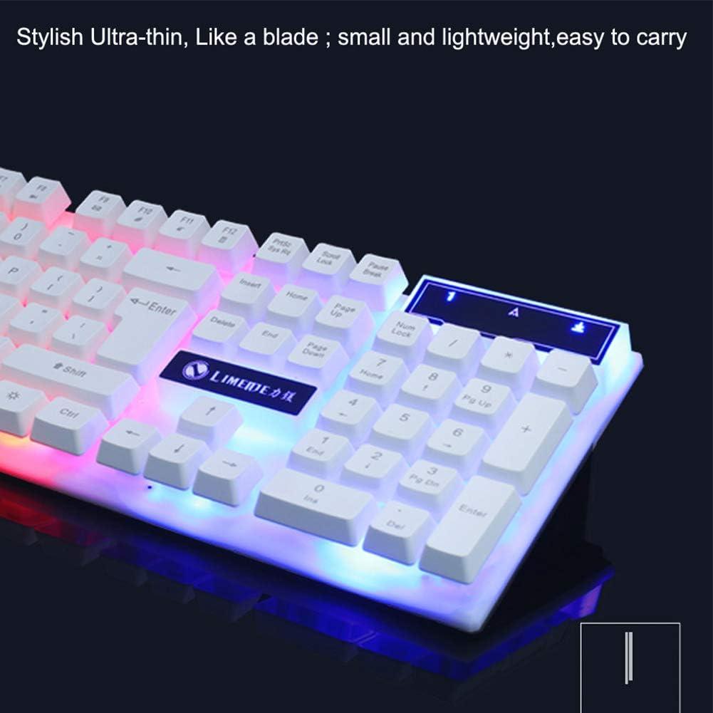 JIAX Gaming Keyboard Mouse Set Gaming Keyboard Colorful LED Illuminated Backlit USB Wired PC Rainbow Anti-Skid and Waterproof Design,Black