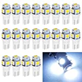 EverBright 20-Pack T10 194 Led Bulb, White 5050 5 SMD 2825 W5W 912 168 LED Bulb Replacement For Car Interior Lights Clearance Wedge Dome Trunk Dashboard Bulb License Plate Light Lamp DC 12V