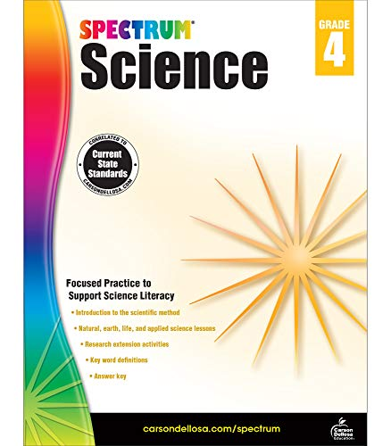 Spectrum Grade 4 Science Workbook—4th Grade State Standards, Introduction to the Scientific Method, Research Activities With Answer Key for Homeschool or Classroom (144 pgs)