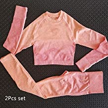 YJTZGG-H Yoga Kleidung Nahtlose Gym Yoga Sets Frauen Sport Anzug Gym Workout Kleidung Langarm Fitness Crop Top + Scrunch Butt Leggings Active Wear