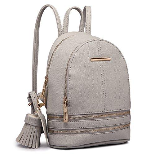 Miss Lulu Zaino Donna Moda Borsa a Tracolla Piccolo Casual in Pelle PU Backpack per ragazze (grigio)