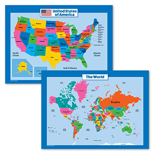 Palace Curriculum World Map and USA Map for Kids - 2 Poster Set - Laminated - Wall Chart Poster of The United States and The World (18 x 24)