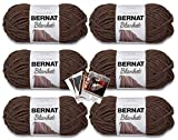 Bernat Blanket Yarn - 6 Pack with Patterns (Taupe)