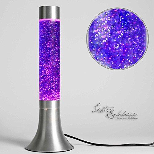 Moderne Lavalampe Glitter Lila Retro Design Glas H:38cm Stimmungslicht Geschenkidee Jugendzimmer