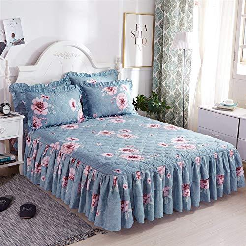 CQZM Drucken Gesteppter Bettvolant Doppelschicht Mit Rüschen Bettrock Tagesdecke Elastische Single Double Bed Skirt Anti-Allergie Für Schlafzimmer Wohnheim EtcL-150x200cm(59x79inch)