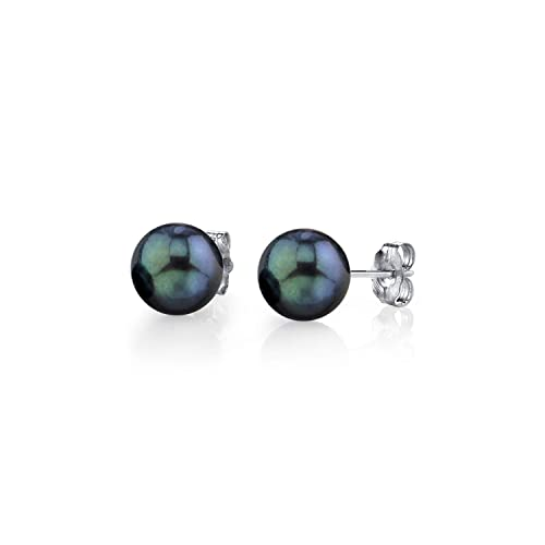 THE PEARL SOURCE 14K Gold Round Black Cultured Akoya Stud Pearl Earrings for Women