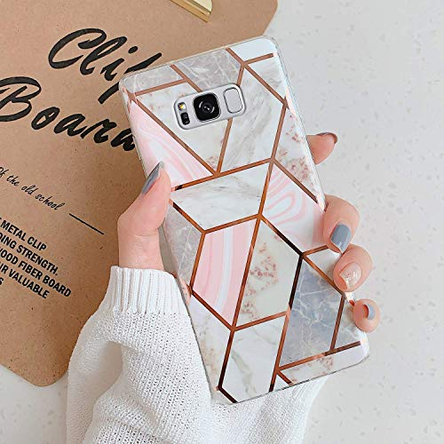 Uposao Kompatibel mit Samsung Galaxy S8 Hülle Silikon Ultra Dünn Handyhülle 3D Marmor Bunt Muster Weich TPU Schutzhülle Etui Kratzfest TPU Bumper Handytasche Case Cover,Marmor Rosa Grau