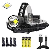 Garberiel LED XHP70 Headlamp 6000 Lumens Super Bright USB Rechargeable Headlight Zoomable Waterproof 3 Modes Torch Light with 3pcs 18650 Batteries for Camping Hiking