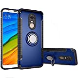 Xiaomi Redmi 5 Plus Case, Ranyi [2 Piece Ring Cover] [Adsorbed Iron Plate] [360 Rotating Metal Ring] Premium Hybrid Dual Layer 360 Full Body Protective 2 in 1 Case for Xiaomi Redmi 5 Plus (Blue)