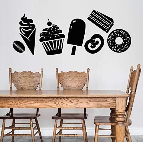 Dessert Shop Wandtattoo Süßigkeiten Konfekt Eis Kuchen Donut Kaffee Bohnen Vinyl Fenster Aufkleber Cafe Interior Decor Art 30X76 Cm