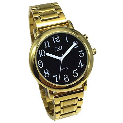 Analoge Armbanduhr mit Alarmfunktion, Anzeige der Uhrzeit und Datum auf Französisch, für Blinde und Menschen mit Sehbehinderung, Farbe Gold, doppelte Verriegelung, Armband aus Edelstahl TUF-G608