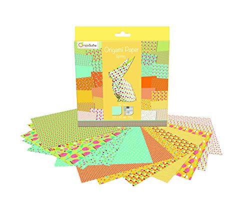 Avenue Mandarine 52501MD Origami color papier (vierkant, 20 x 20 cm, met vouwhandleiding, 60 verschillende vellen en 1 vel met oogset, geometrisch)