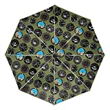 小さな旅行傘防風屋外雨太陽UVオートコンパクト3つ折り傘カバー-フライトデッキオリーブグリーン