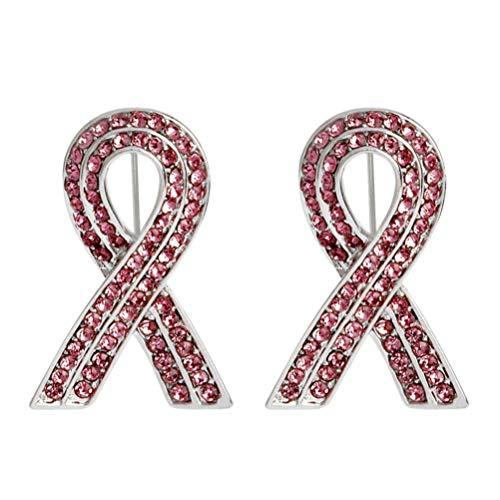 Amosfun 2 Piezas de Apoyo a La Conciencia del Cáncer de Mama Rosa Cristal Cinta Broche Pin Joyería de Moda Regalo para Mujeres
