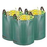 GIOVARA - Sacchi per rifiuti da giardino, 300 l, impermeabili, resistenti, grandi, con manici, pieghevoli e riutilizzabili, 3 pz