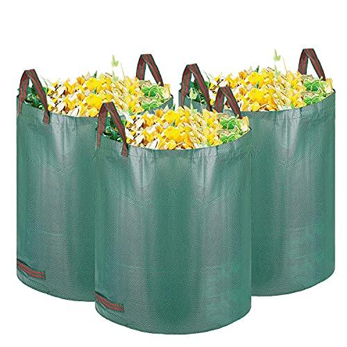 GIOVARA Gartenabfallsack, faltbar Gartenbeutel, wiederverwendbar Laubsack 3x120L, Selbstaufstellend Gartensack aus robustem Polypropylen-Gewebe, Hohe Fassungsvermögen Wasserdicht Gartenabfallbehälter