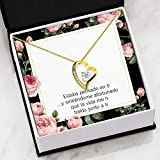 Gift for Fiancee Thinking of You Spanish Forever Love NecklaceCZ Heart Pendant Stainless Steel Or 18k Gold