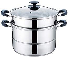 LJBH Steamer pot, home kitchen 2 layer stainless steel steamer set, outdoor, gas stove cooker universal steamer cookware, ...
