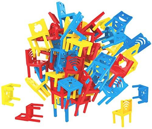 deAO Torre di Sedie Impilabili Gioco Impilabile, Equilibrio e Abilità per Bambini Gioco di società per la Famiglia