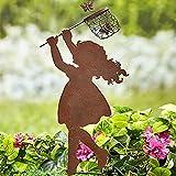 Snakell Rost Gartenstecker Mädchen Junge 36 x 16 cm Edelrost Gartendeko Rostoptik Metall Dekoration für Garten Terrasse Balkon | Blumenstecker in Edelrost-Optik