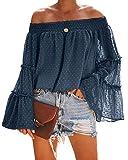 Beautife Womens Summer Off The Shoulder Shirts Casual Chiffon Long Bell Sleeve T Shirt Blouses Navy Blue