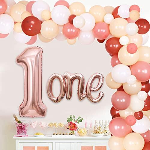 Boho Rainbow Decoración de primer cumpleaños para niña, kit de guirnalda de globo, boho, arco iris, decoración de fiesta con globos de aluminio, decoración de fiesta boho rubor para primer cumpleaños