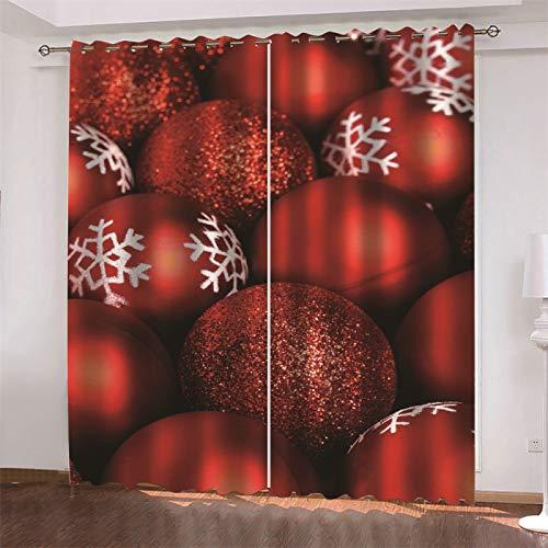 MMHJS Cortinas De Tela Modernas Y Sencillas Cortinas Estampadas Navideñas Nórdicas 3D, Cortinas De Balcón para Dormitorio Y Sala De Estar (2 Piezas)