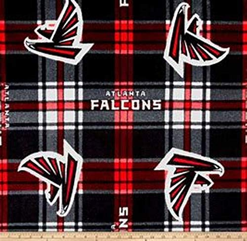 Country Snuggles Falcons Plaid Fleece Fabric by The Yard (1/2 Yard)